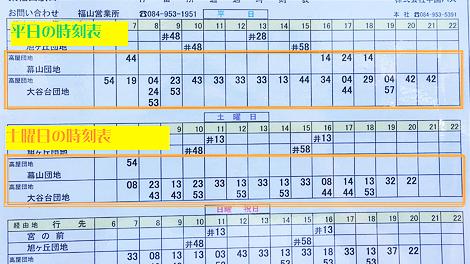↑東福山駅口バス停の時刻表です。参考にしてください。